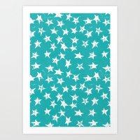 Linocut Stars - Verdigris & White Art Print