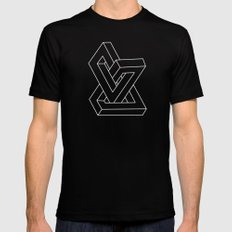 Optical illusion - Impossible figure Mens Fitted Tee Black SMALL