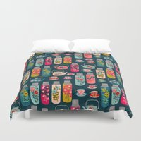 Vintage Thermos - Teacups and Teapots by Andrea Lauren Duvet Cover