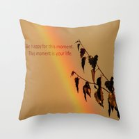 Rainbow And Copper Leave… Throw Pillow
