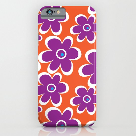 retro purple flower iPhone & iPod Case