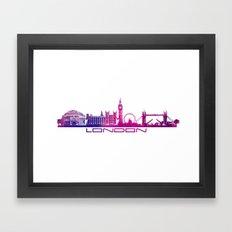 London Skyline City Pink Framed Art Print