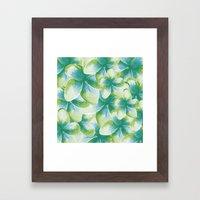 Blue Plumeria Floral Watercolor Framed Art Print