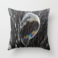 Living in a colored bubble Throw Pillow