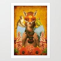 Foxy Bowie Art Print