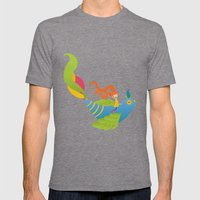 Bird and Girl Mens Fitted Tee Tri-Grey SMALL