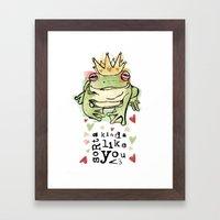 Valentines Frog Framed Art Print