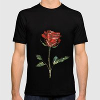 The Little Prince's Rose Mens Fitted Tee Black SMALL