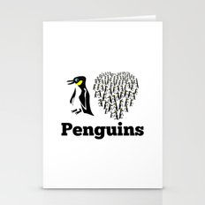 I Love Penguins Heart Stationery Cards