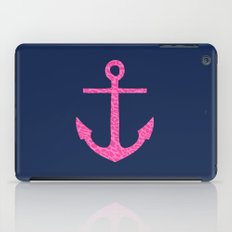 pink leopard anchor on navy  iPad Case