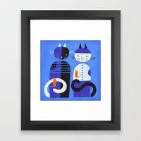BLUE CATS ORANGE BIRDS Framed Art Print