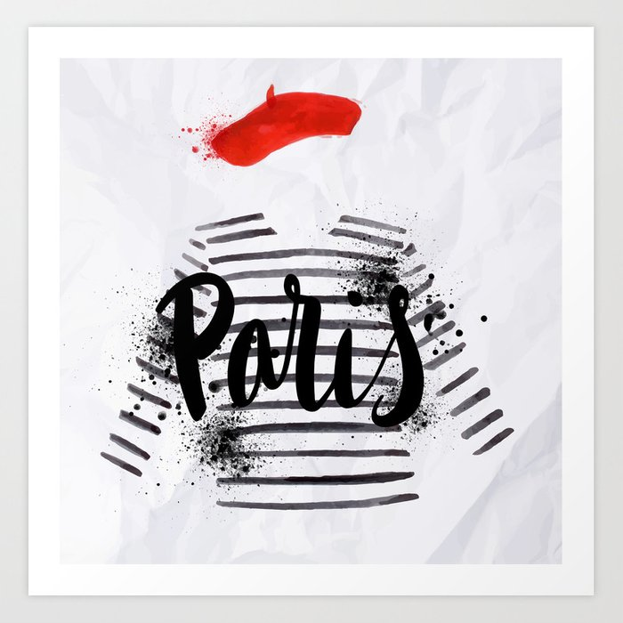 Sunday's Society6 | Paris illustration watercolor, striped shirt & baret