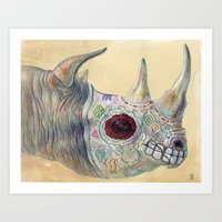 Day of the Dead Rhino Art Print