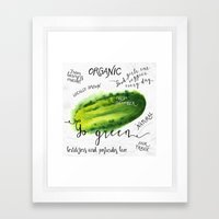 Watercolor cucumber Framed Art Print