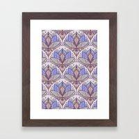 Art Deco Lotus Rising 2 - sage grey & purple pattern Framed Art Print
