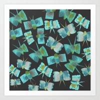 Moody Blue Butterflies Art Print