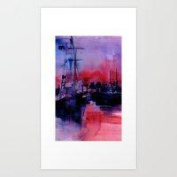 BOSTON 4 - RED Art Print