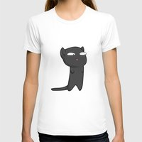 Black Cat Womens Fitted Tee White SMALL