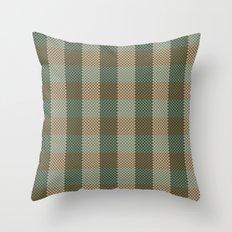Pixel Plaid - Birch Forest Throw Pillow