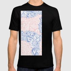 Modern pink rose quartz serenity blue mandala floral illustration Mens Fitted Tee SMALL Black