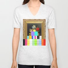 A Painting of Flowers With Color Bars Unisex V-Neck