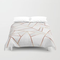White Stone & Copper Lines Duvet Cover