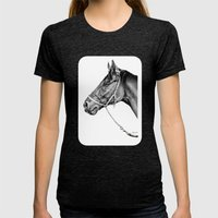 Sir Alfred - Racehorse : Graphite Womens Fitted Tee Tri-Black SMALL