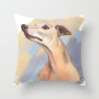Whippet Face Throw Pillow