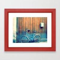 A Polka Dotted Bike Framed Art Print
