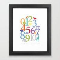 Animal Numbers -  Bright colorway Framed Art Print
