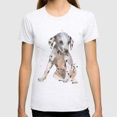 dalmatian, dalmatian puppy, dalmatian painting, cute puppy,  Womens Fitted Tee Ash Grey SMALL