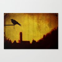 Crow and castle with music sheet Canvas Print
