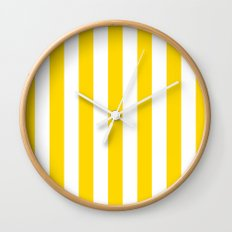 Vertical Stripes (Gold/White) Wall Clock