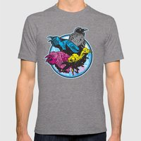 CMYK BIRDS Mens Fitted Tee Tri-Grey SMALL
