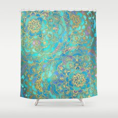 Sapphire & Jade Stained Glass Mandalas Shower Curtain