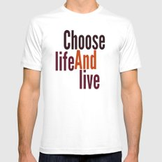Live SMALL White Mens Fitted Tee