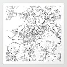 Stuttgart Map, Germany - Black and White Art Print