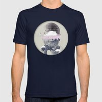 Contemplating Dome Mens Fitted Tee Navy SMALL
