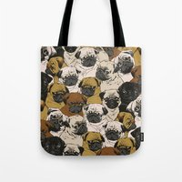 Tote Bag featuring Social Pugz by Huebucket