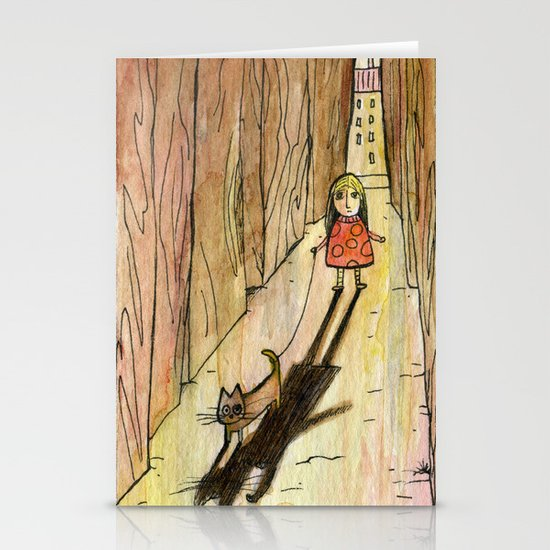 walking the cat Stationery Card