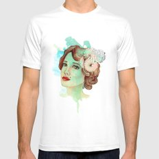retro woman 2 White SMALL Mens Fitted Tee
