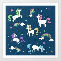 Unicorns and Rainbows - Teal Art Print