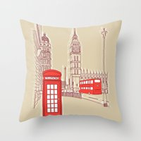 City Life // London Red … Throw Pillow