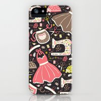 iPhone 5s & iPhone 5 Cases featuring Vintage Sewing by Poppy & Red