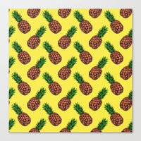 Neo-Pineapple - Mellow Yellow Canvas Print