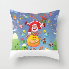 Santa has a Zeppelin to Deliver Christmas Gifts Throw Pillow