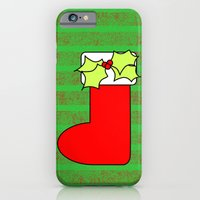 iPhone Cases featuring Christmas stocking with decorative holly leaves and mistletoe by Wendy Townrow