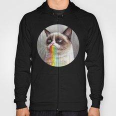 Cat Tastes the Grumpy Rainbow   Watercolor Painting Hoody