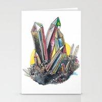 Rainbow Metallic Crystals Stationery Cards