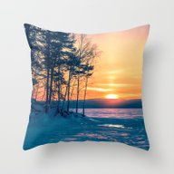 Winter Sunset And The Su… Throw Pillow